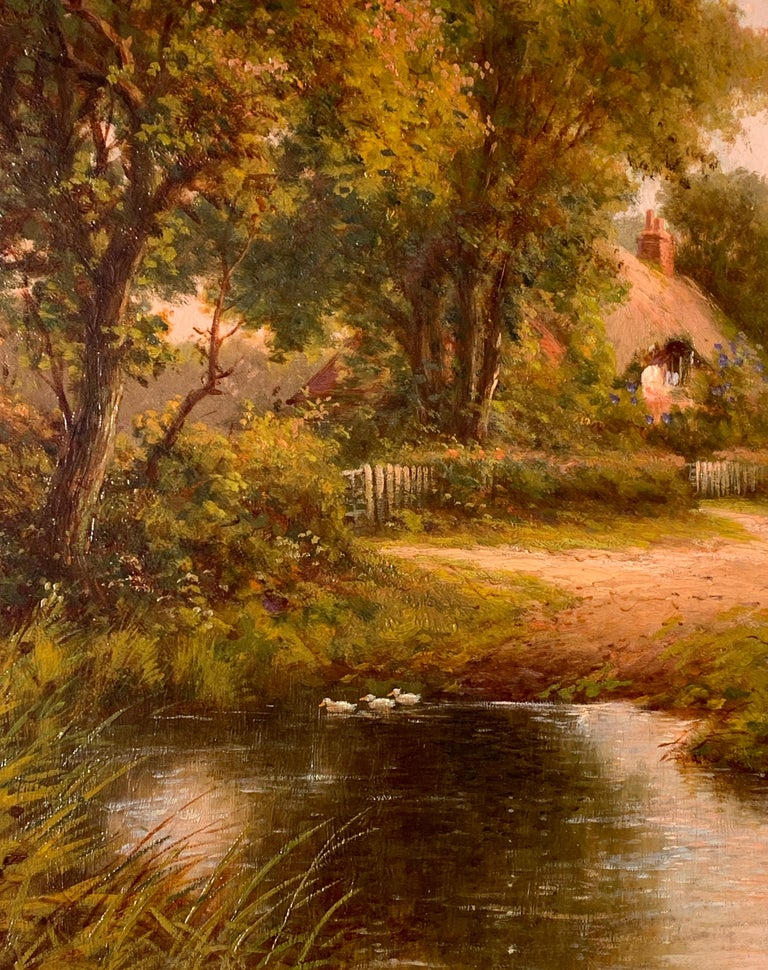 19th Century Victorian English cottage landscape - Brown Landscape Painting by Henry Maidment