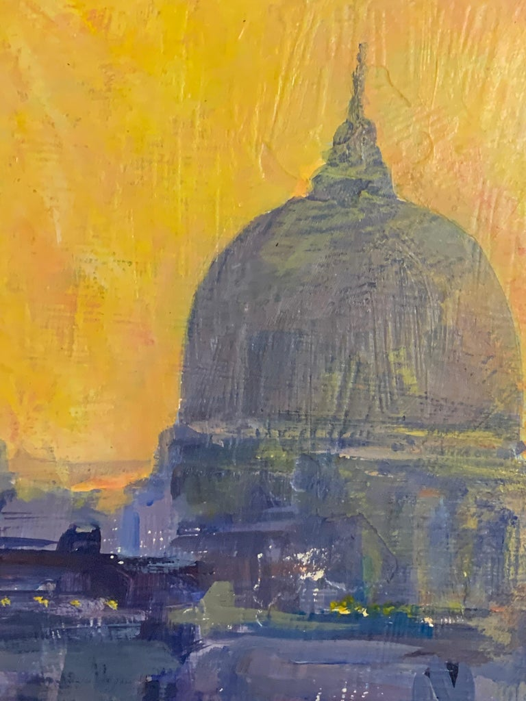 A wonderful and colorful scene depicting St.Pauls in London from the Thames river.   He is a painter from England that now resides in Connecticut, America. His work is an energetic attempt to capture the fleeting light on water, buildings, and