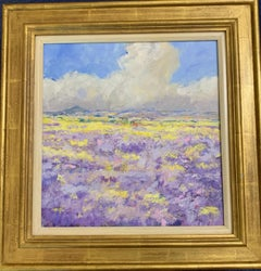 English Impressionist view of a Lavender field landscape in Provence,  France