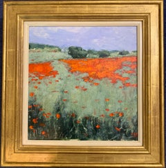 English Impressionist view of a Poppy field landscape in Provence,  France