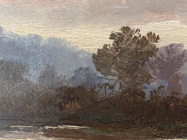 English Victorian 19th century Autumn River landscape with trees For Sale 1