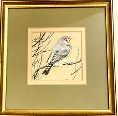 English 20th century study of a Finch bird seated on a snow covered branch