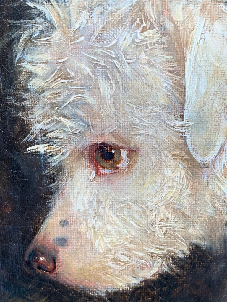 Just a Tit-Bit, English Victorian 19th century portrait of a dog and puppy - Painting by Edwin Frederick Holt