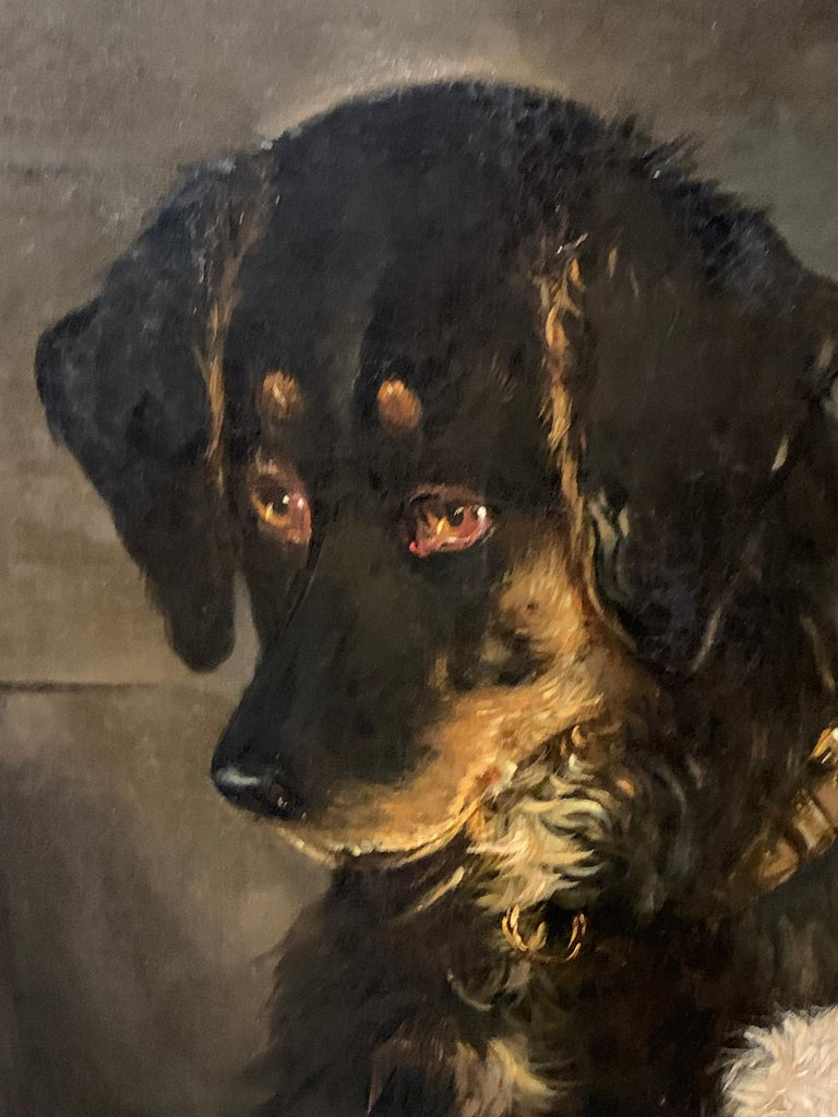 Just a Tit-Bit, English Victorian 19th century portrait of a dog and puppy For Sale 1