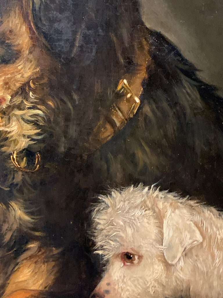 Just a Tit-Bit, English Victorian 19th century portrait of a dog and puppy For Sale 2