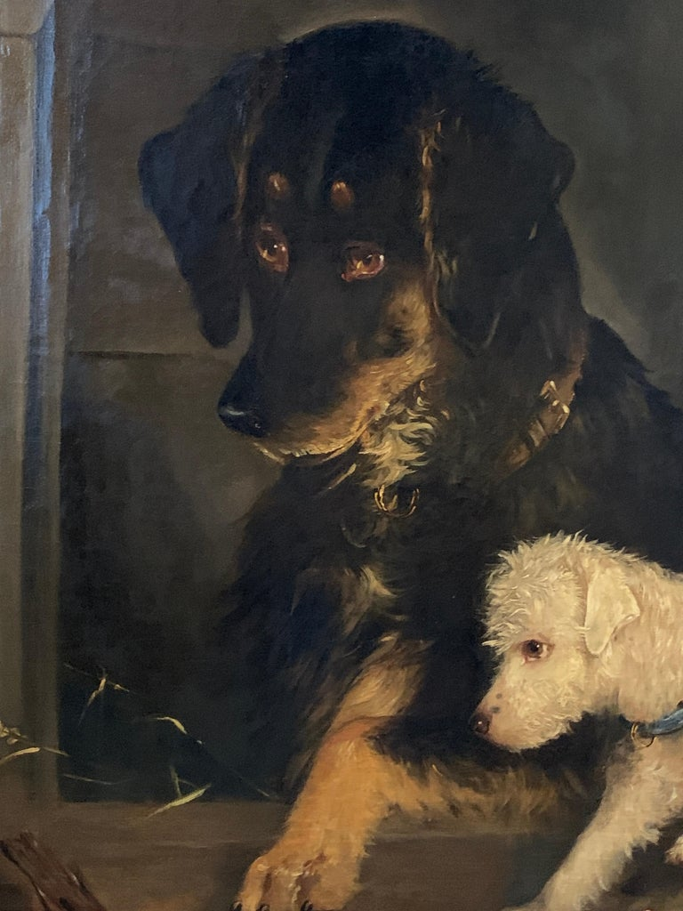 Just a Tit-Bit, English Victorian 19th century portrait of a dog and puppy For Sale 4