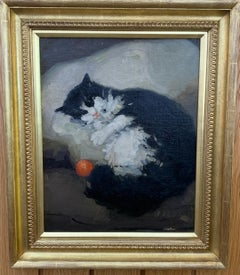 English Impressionist portrait of a black and White cat with orange ball