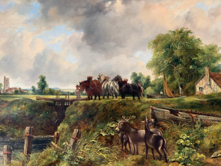 19th century English Victorian landscape of Dedham Lock with horses and donkeys - Painting by Frederick Walters Watts
