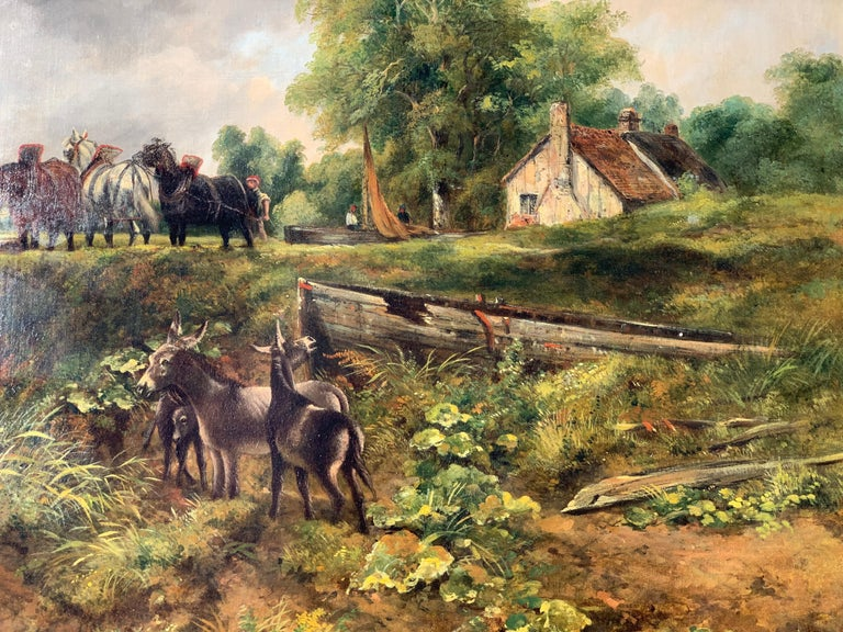 19th century English Victorian landscape of Dedham Lock with horses and donkeys - Brown Figurative Painting by Frederick Walters Watts