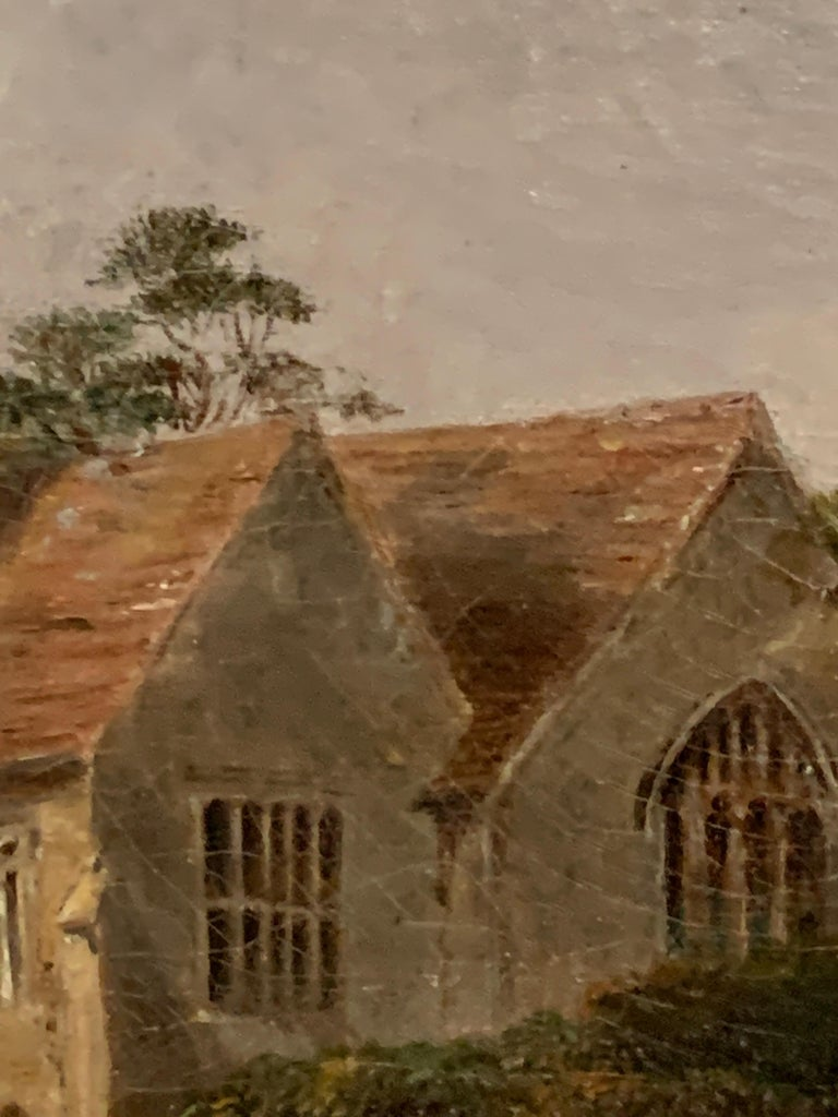 English 19th century Victorian landscape with a Norman Church ,sheep and figures For Sale 2