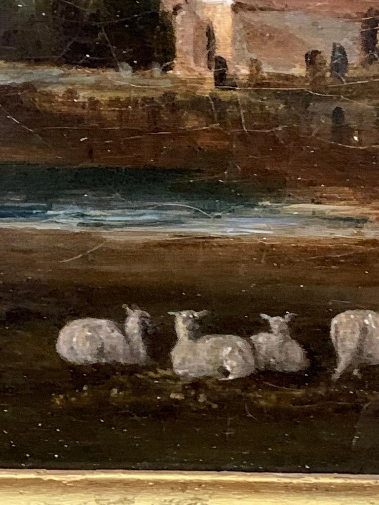 English 19th century Victorian landscape with a Norman Church ,sheep and figures For Sale 5