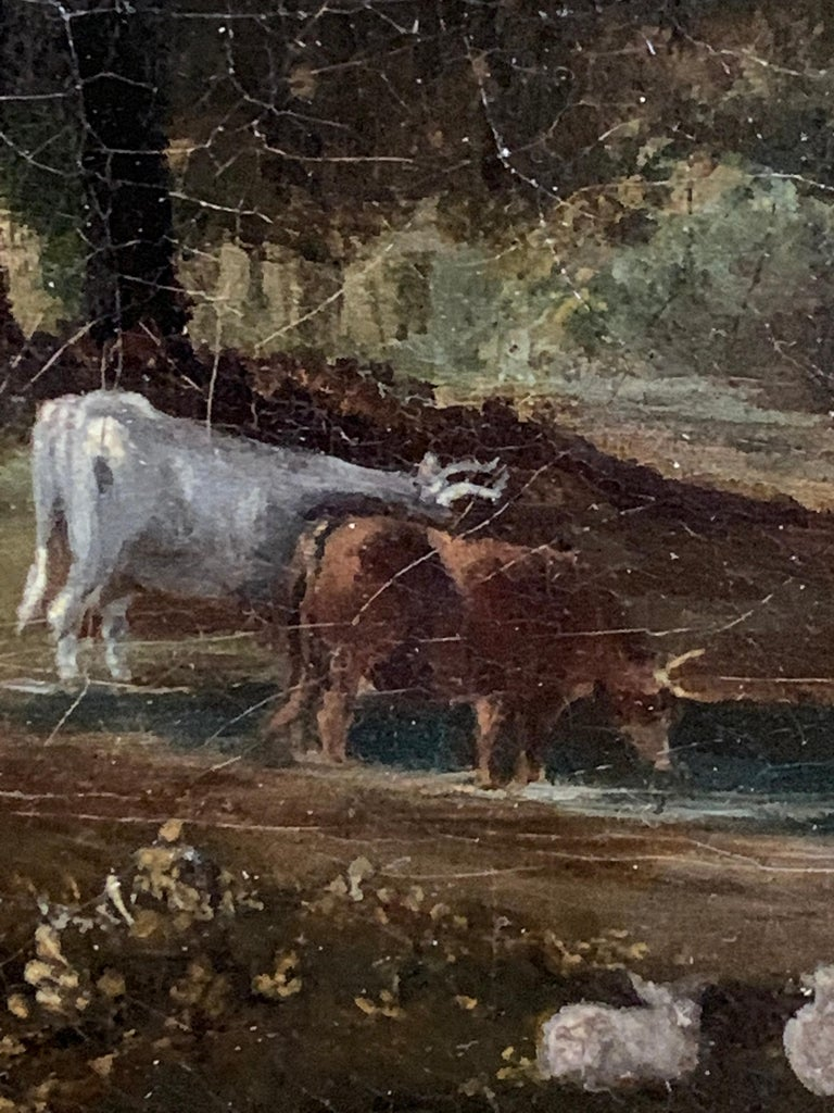 English 19th century Victorian landscape with a Norman Church ,sheep and figures For Sale 6