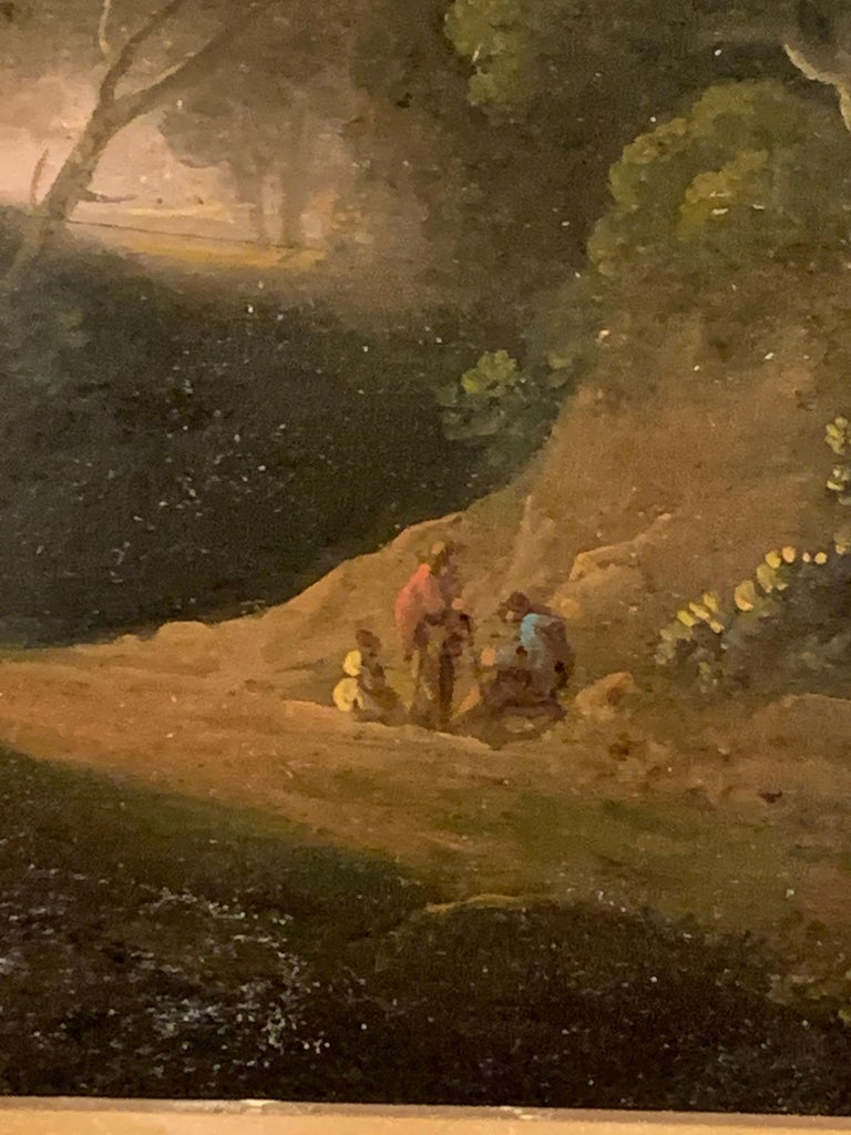 18th century English tree lined landscape with a pathway with figures resting. - Old Masters Painting by John Rathbone