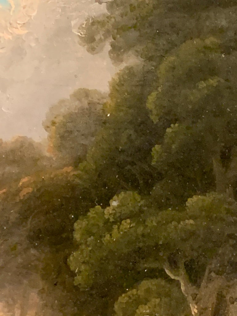 18th century English tree-lined landscape with a pathway with figures resting.  John Rathbone was a British landscape artist working in the late 18th Century to the early 19th Century. He was born at Rockferry, Wirral, in Cheshire. The artists