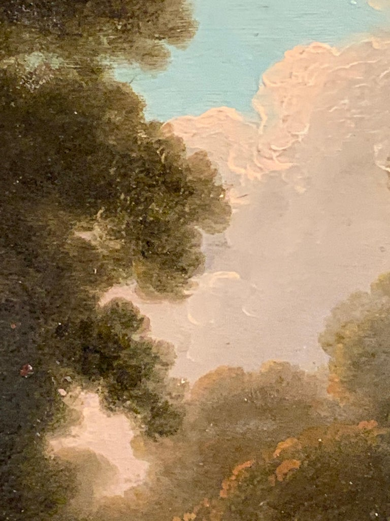 18th century English tree lined landscape with a pathway with figures resting. For Sale 1