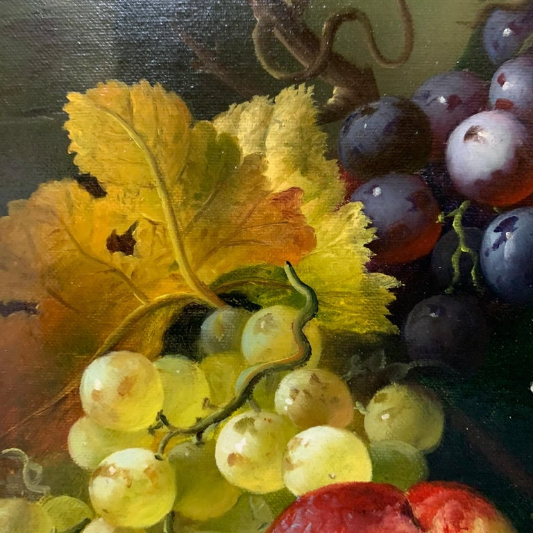Still life of grapes, plumbs in a silver dish, peaches and gray green brown For Sale 1