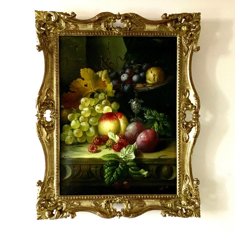 A. der Van Interior Painting - Still life of grapes, plumbs in a silver dish, peaches and gray green brown