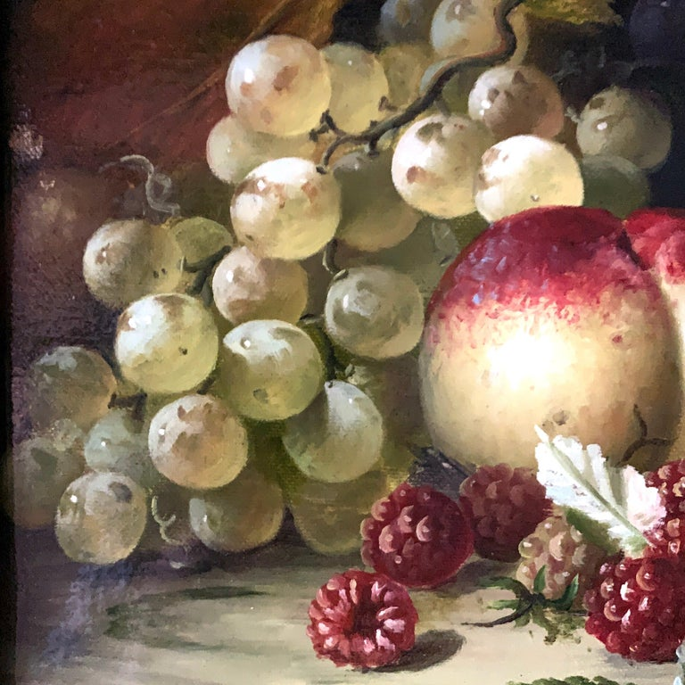 Still life of grapes, plumbs in a silver dish, peaches and gray green brown - Painting by A. der Van