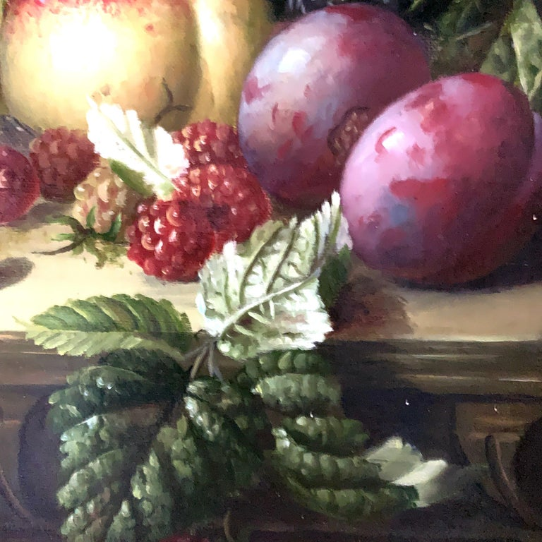 Still life of grapes, plumbs in a silver dish, peaches and gray green brown - Victorian Painting by A. der Van