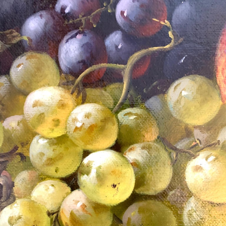 Still life of grapes, plumbs in a silver dish, peaches and gray green brown - Brown Interior Painting by A. der Van