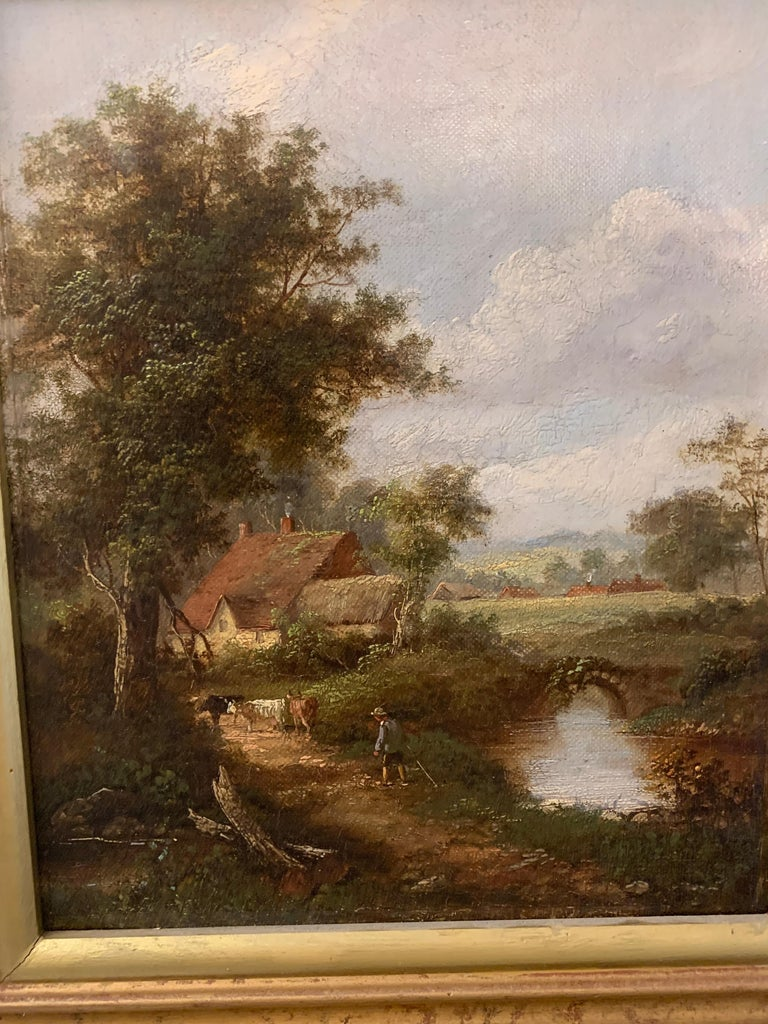 Pair of English Antique landscapes with men fishing, cottages, and cow, cattle  3
