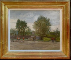 French Impressionist landscape the South of France, with children playing