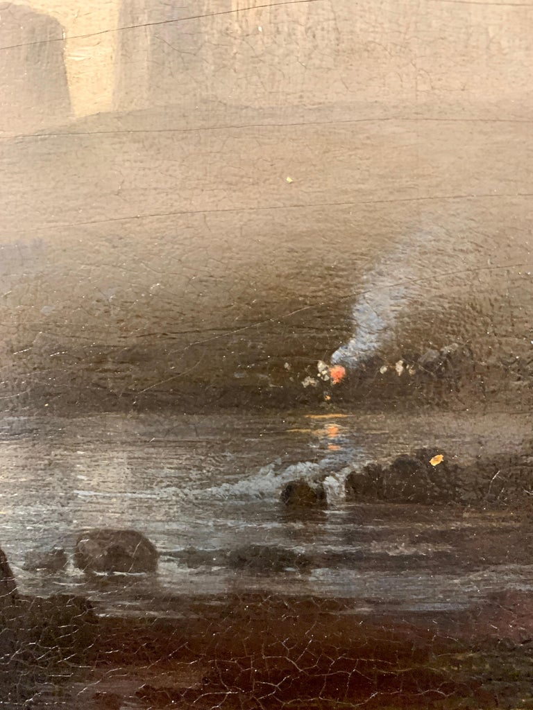 Night time sea scape with landscape and moonlight, with fishing boats at sea. For Sale 2