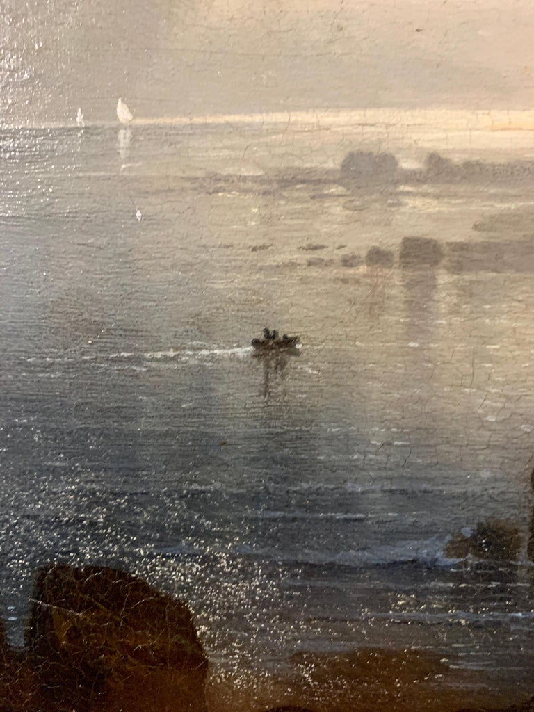 Night time sea scape with landscape and moonlight, with fishing boats at sea. - Brown Figurative Painting by Karl Heilmayer