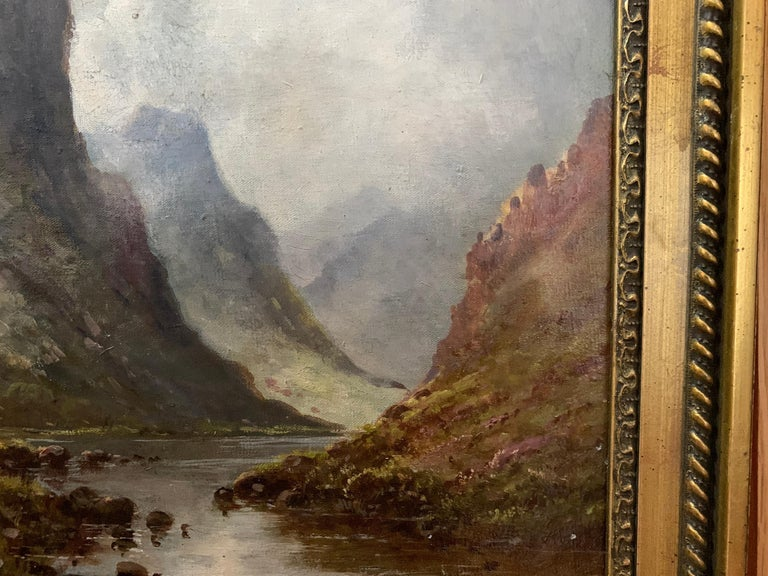 Scottish or Welsh 19thC Highland River landscape, with heather and Aspen trees For Sale 4