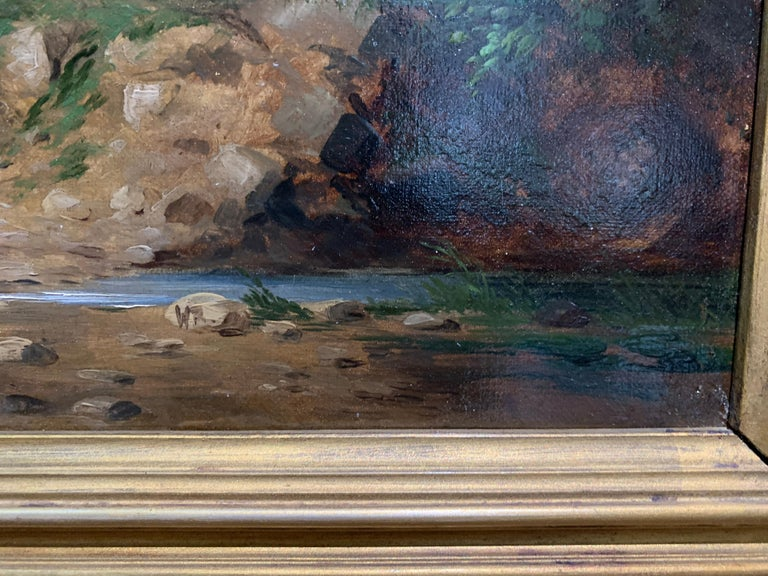 Landscapes with trees, pair of English or Irish 19th century landscapes For Sale 5