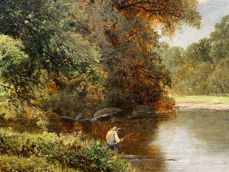 English River Landscape with fisherman, 19th century, in Dolgellau, North Wales For Sale 1