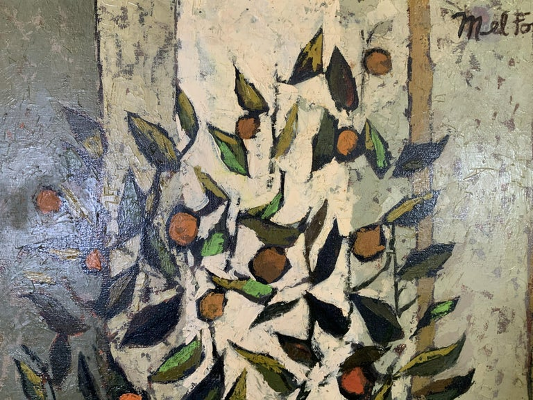 Mid Century Cubist Still life of flowers, fruit, orange table cloth 1960's - Orange Abstract Painting by Mel Fowler