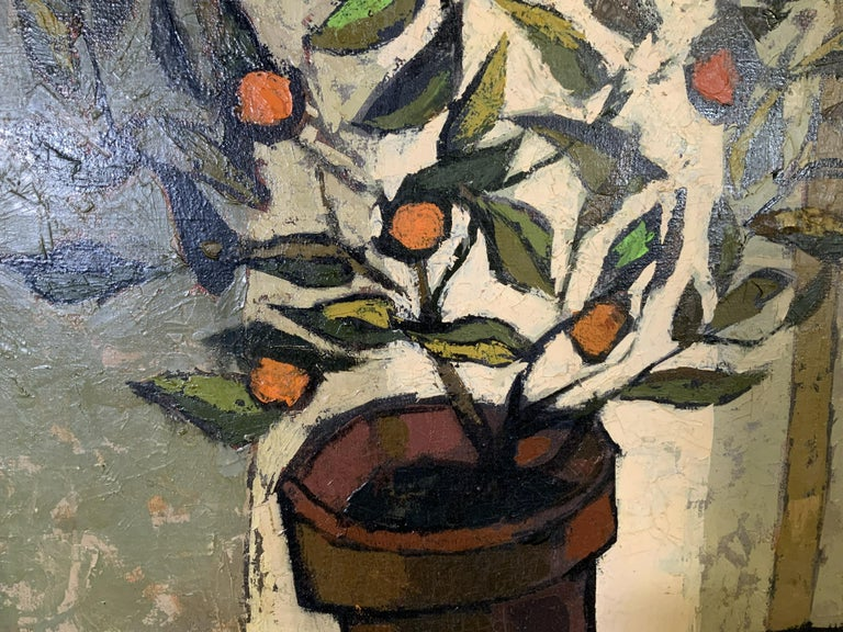 Mid Century Cubist Still life of flowers, fruit, orange table cloth 1960's For Sale 1