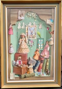 Still life study of treasures,  dolls, shells, teddy , flowers, books, glass.