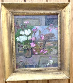Impressionist English Still life of Pink and white geranium flowers in a studio