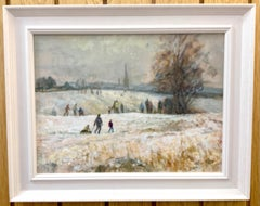 Impressionist English Landscape scene with Children playing in the snow.