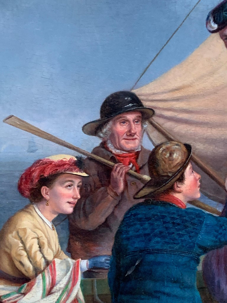 English 19th century figure scene with fisherman helping ladies on to a boat - Gray Figurative Painting by 19th century English school