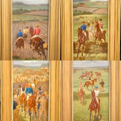 Set of Four English 19th century Horse Racing scenes in extensive landscapes.