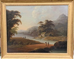 18th century English oil landscape with river and figures fishing by a cottage