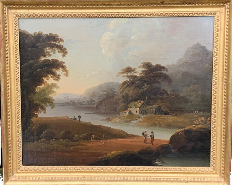 John Rathbone Figurative Painting -  18th century English oil landscape with river and figures fishing by a cottage