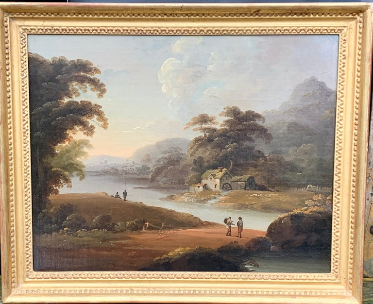 18th century English oil landscape with river and figures fishing by a cottage - Painting by John Rathbone