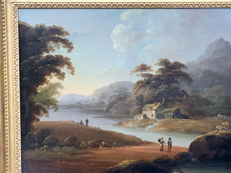18th century English oil landscape with river and figures fishing by a cottage - Old Masters Painting by John Rathbone