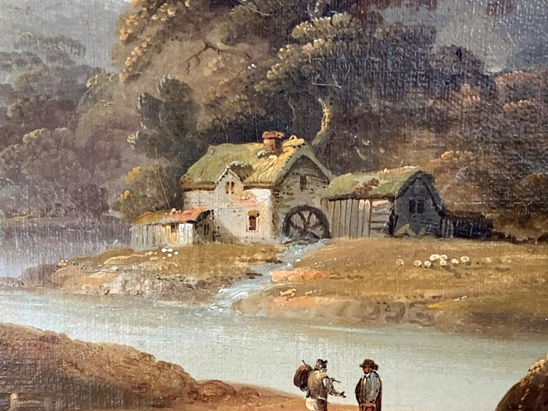 18th century English oil landscape with river and figures fishing by a cottage - Brown Figurative Painting by John Rathbone