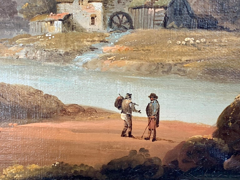 18th century English oil landscape with river and figures fishing by a cottage and others out walking.  John Rathbone was a British landscape artist working in the late 18th Century to the early 19th Century. He was born at Rockferry, Wirral, in
