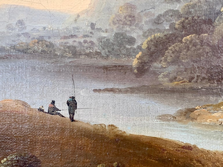 18th century English oil landscape with river and figures fishing by a cottage For Sale 1