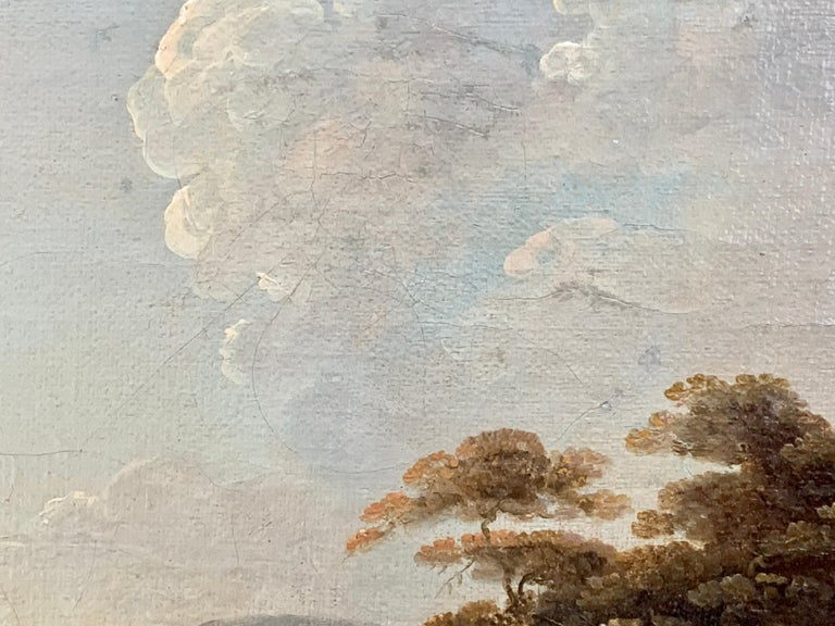 18th century English oil landscape with river and figures fishing by a cottage For Sale 2