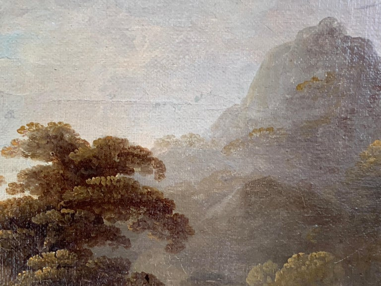 18th century English oil landscape with river and figures fishing by a cottage For Sale 3