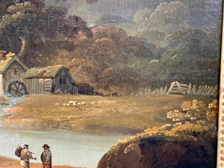 18th century English oil landscape with river and figures fishing by a cottage For Sale 4