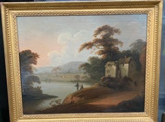 18th century English oil landscape with figures fishing by an English House