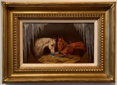 Antique English Horses portrait with holly, Shakespeare quote, in an Ice Cave.